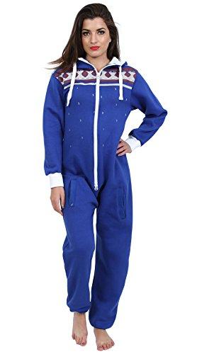 Juicy Trendz Ladies Women's Printed Onesie Hoodie Jumpsuit Playsuit All in One Piece H Aztec Blue - Tracksuit Love Juicy