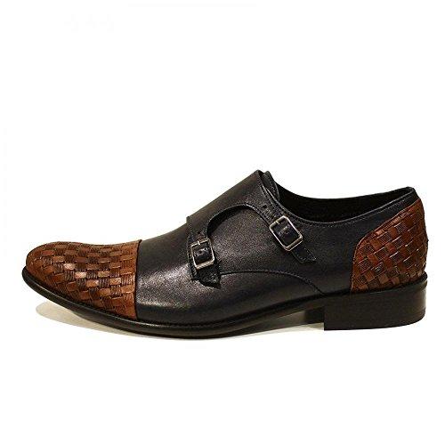 PeppeShoes Modello Marrone - Handgemachtes Italienisch Leder Herren Navy Blau Mönch Schuhe Abendschuhe Oxfords - Rindsleder Geprägtes Leder - Schnalle