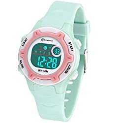 Kids Digital Watch, Functional Waterproof Boys Watch Girs Watch with Time, Date, Week, Backlight, Warning, Stopwatch Digital Clock for Children Green