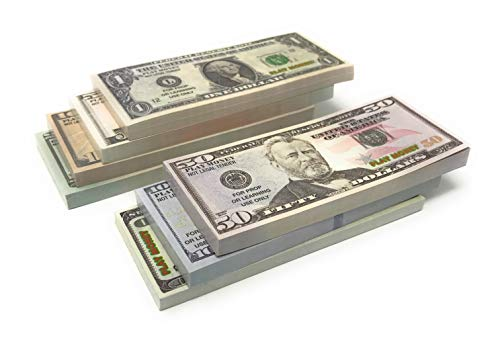Small Us Dollar Bill for Kids Play and Training | 50 Bills of $59300 | Realistic Appearance – Double Sided Prop Money | $1 $5 $10 $20 $50 $100 $1000 Bills Included | for Kids, Adult Education,