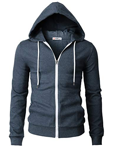 H2H Mens Casual Basic Long Sleeve Zip Up Hoodie Jacket HEATHERNAVY US 3XL/Asia 4XL (CMOHOL048)
