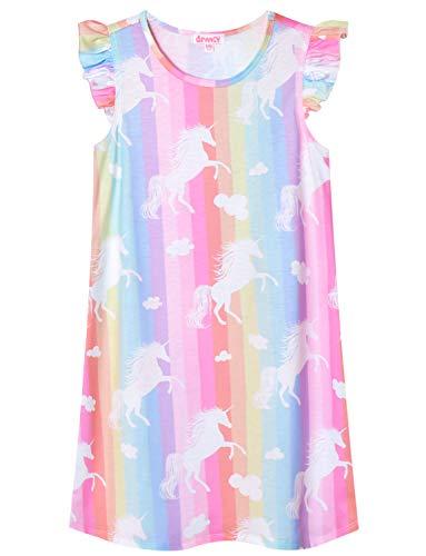 Little Girls Rainbow Unicorn Nightgown Cotton Nightdress Sleepwear