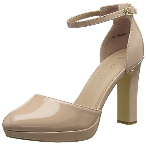 Wide Punta Tacón de 14 Mujer Oatmeal Cerrada New Zapatos para Look Supped Foot con Beige 5F8nZ