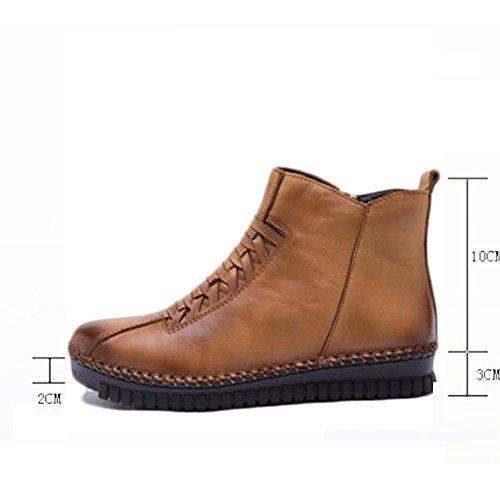 lampo Boots femminile chiusura donna NSXZ 37 di BLACK black della della cuoio 40 genuino daqdwg1Y