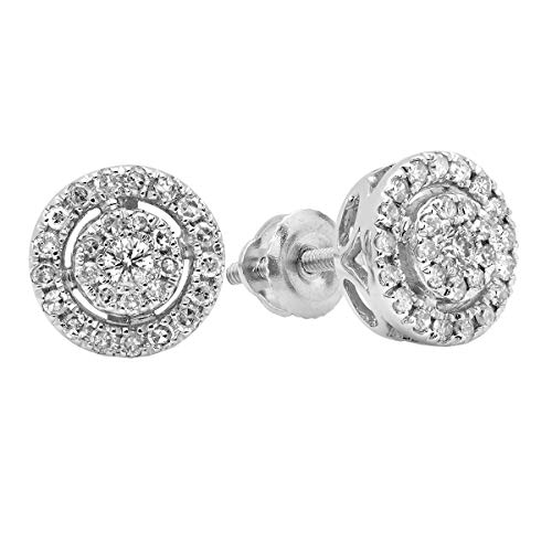 Dazzlingrock Collection 0.40 Carat (ctw) 18K Round White Diamond Ladies Flower Cluster Stud Earrings, White Gold