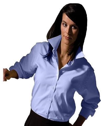 Edwards Garment Women's Pinpoint Long Sleeve Oxford Shirt, Blue, X-Large - Edwards Button Down Oxford Shirt