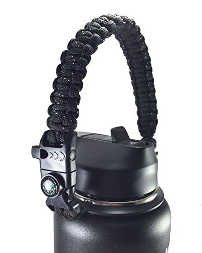 GALAXTEK Paracord Handle Compatible with Hydro Flask Wide Mouth Bottle - Durable Carrier, Secure Design Accessories, Survival Strap Cord with Safety Ring and Carabiner, Premium Quality