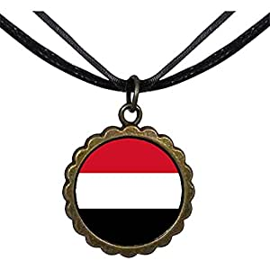 Chicforest Bronze Retro Style Yemen flag Round Flower Pendant