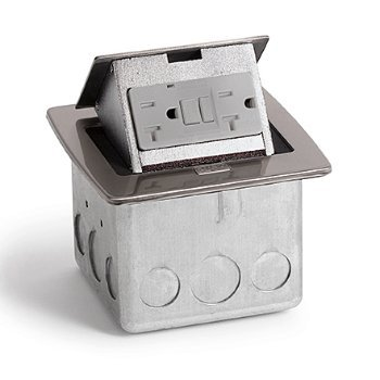 Lew Electric PUFP-CT-SS Countertop Box, Pop Up w/20A GFI Receptacle - Stainless Steel