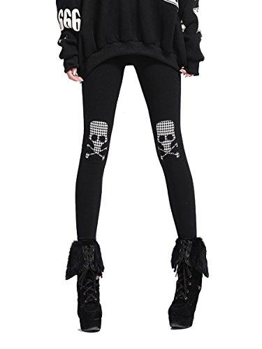 ELLAZHU Women Slim Winter Fleece Lined Skull Legging Pants Onesize GY278