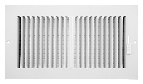 Accord ABSWWH2126 Sidewall/Ceiling Register with 2-Way Design, 12-Inch x 6-Inch(Duct Opening Measurements), White - Vent Duct Cover