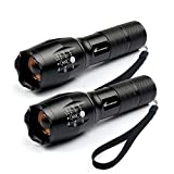LED 3AAA Zoomable Flashlights - Moobibear 800lm Ultra Bright Handheld 18650 Flashlight,Portable Outdoor Water Resistant Torch with Adjustable Focus and 5 Light Modes, 2 Pack