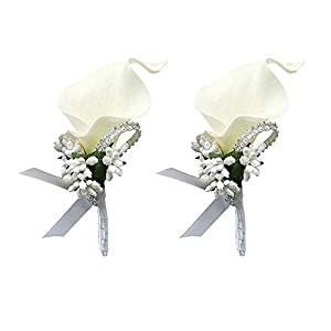 2Pcs Calla Lily Corsage and Boutonniere Set Boutonniere Buttonholes Groom Groomsman Best Man Calla Lily Wedding Flowers Accessories Prom Suit Decoration for Men and Women 104