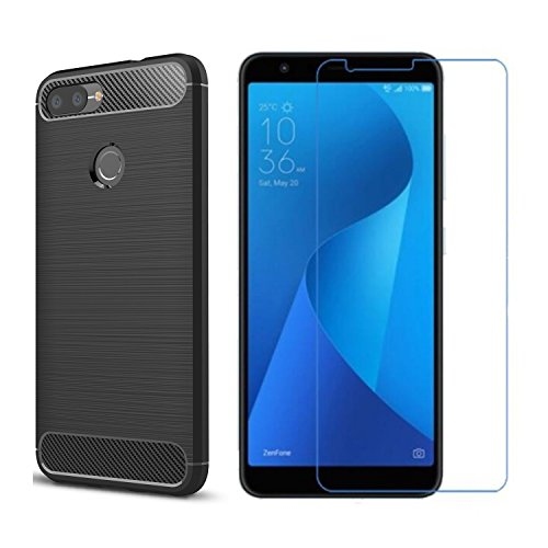 Asus ZenFone Max Plus ZB570TL Case,with Asus Zenfone Max Plus (M1) screen protector. MYLB (2 in 1)[Scratch Resistant Anti-fall] fashion Soft TPU Shockproof Case with glass screen protector (Black) by MYLB