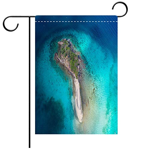 St Johns Virgin Islands - BEICICI Double Sided Premium Garden Flag Aerial View of Waterlemon Cay St John US Virgin Islands Best for Party Yard and Home Outdoor Decor