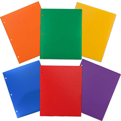 JAM PAPER Heavy Duty Plastic 3 Hole Punch Folders with Pockets - Assorted Primary Colors - -