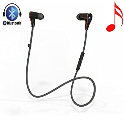 Danlai Jogger Sports Earphones Wireless Bluetooth 4.0 Stereo Headphone Headset with Microphone Black for Running Work with Apple Iphone 5 5c 5s 4s Ipad Ipod Touch, Samsung Galaxy S4 S3 Note 3 2 and Android Tablet Cellphones