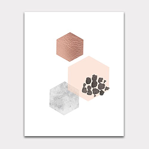 Geo Pink Wall - Scandinavian Hexagon Wall Art Blush Marble and Copper Unframed