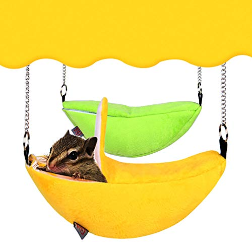 (Pet Bed for Small Animals, Bed for Hamster Ferret Rabbit Animals Sleep Nest House Hanging New, Hedgehog Rat Squirrel Nest Bed House, Sleeping Burrow,Squirrel Chinchilla Bed Cage Sleep (Yellow))