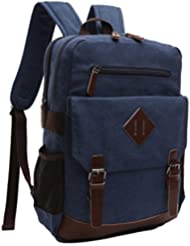 ZUOLUNDUO Vintage Canvas College School Bag Laptop Bag Backpack