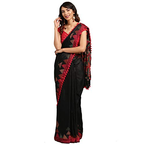 Womanista Women's Printed Cotton Saree with Blouse Piece (FSP747_Black_Onesize_Black)