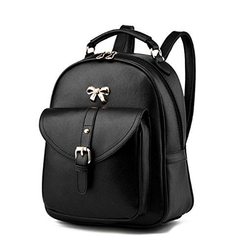 Soft PU Leather Travel bag Laptop Backpack School Rucksack(Blue) - 5