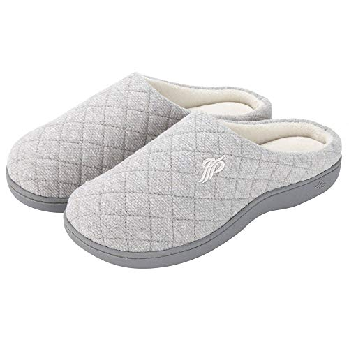Wishcotton Womens Cozy Breathable Memory Foam Slippers Nonslip Rubber Sole House Shoes Ivory White