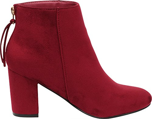 Ankle Bootie Burgundy Zip Heel Stacked Closed Wrapped Chunky Select Imsu Women's Toe Cambridge Block Back RwqTPx