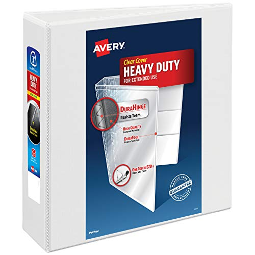 Avery 3 Heavy Duty View 3 Ring Binder, One Touch EZD Ring, Holds 8.5 x 11 Paper, 1 White Binder (79193)