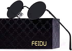 FEIDU Retro Vintage Runde sonnenbrille herren - Polarisiert mit rundem Metallrahmen,sonnenbrille damen FD 3013