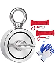 Magnet Fishing Kit,660 LBS Pulling Force Double Sided Strong Neodymium Rare Earth Fishing Magnets with Two 35FT Rope & Gloves for Magnetic Fishing, River Salvage,60mm(2.35in) Diamete