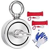 Magnet Fishing Kit,660 LBS Pulling Force Double Sided Strong Neodymium Rare Earth Fishing Magnets with Two 35FT Rope…