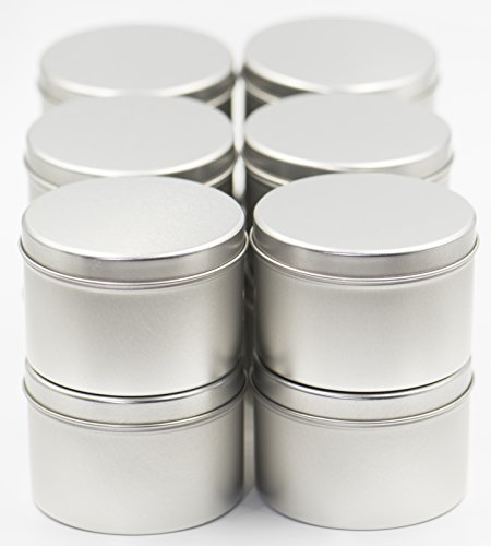 8 oz 12 Pack Tin Cans with Lids for Candle Making from Omnya, Made with Steel, Round Container Tins for Candles, Spices, & DIY Projects, 8oz Can with Secure Pop-on (Tin Candle Containers)