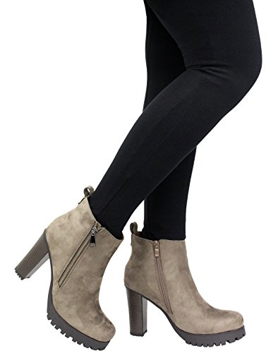 SAUTE STYLES Ladies Womens Block Heels Platform Chunky Cleated Chelsea Ankle Boots Shoes Size 3-8 Khaki