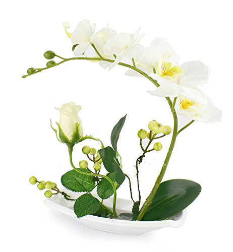 Silk Orchid Flower Arrangements with White Ceramic Vase,Artificial Flowers Bonsai with Fake Water and Rose,White Color