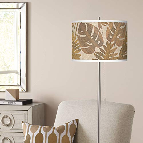 Tropical Woodwork Brushed Nickel Pull Chain Floor Lamp - Giclee Glow