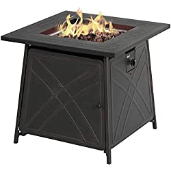 "BALI OUTDOORS Firepit LP Gas Fireplace 28"" Square Table 50,000BTU Fire Pit, Best Firetable, Black"