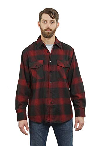 (YAGO Men's Long Sleeve Flannel Plaid Button Down Shirt Black/Red, Large)