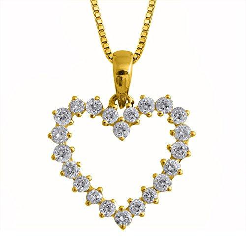 IGI Certified 14k Yellow Gold Heart Diamond Pendant Necklace (1/2 Carat)
