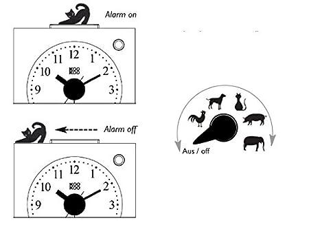 grabaci/ónes de la naturalez despertador para ni/ños incluy 5 animales de granja con les sonidos KOOKOO KidsAlarm amarillo caja de madera MDF;