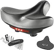 Wide Bike Saddle Waterproof Bicycle Seat Padded Saddle with Soft Cushion Univesal Fit Comfy Bike Seat