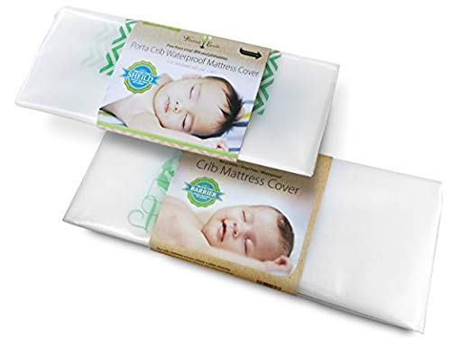 Harlow's Earth Safe Sleep Bundle- 1 Standard Size & 1 Pack n Play Size Crib Mattress Cover- Waterproof- Toxic Gas Shield by Harlow's Earth