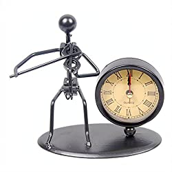 Perfect Father's Day Gift Classic Vintage Old Fashion Iron Art Musician Clock Figure Ornament For Home Office Desk Decoration Gift (C61 Violin)