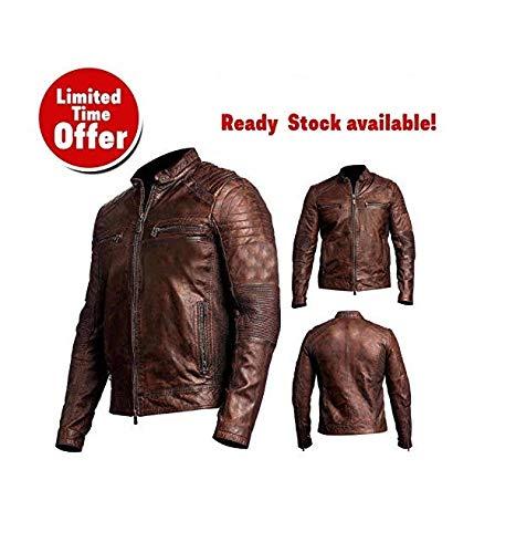 (Men's Biker Vintage Cafe Racer Motorcycle Distressed Brown Leather Jacket)