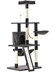 Advwin 157 cm Multi-Level Cat Tree Stand House Furniture Kittens Activity Tower with Scratching Posts and Ladder, Kitty Pet Play and Sleeping House(Dark Grey)
