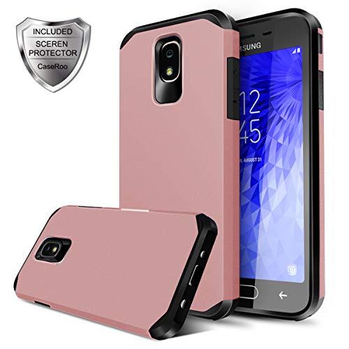 Samsung Galaxy J7 Refine Case,Samsung Galaxy J7 2018 Case,Galaxy J7 V J7V 2nd Gen/Galaxy J7 Star Case w/Screen Protector,CaseRoo Dual Layer Armor Heavy Duty Shockproof Protective Cover,Rosegold