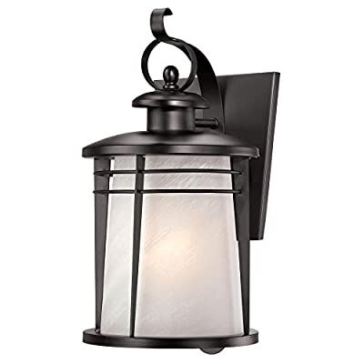 Westinghouse Senecaville One-Light Exterior Wall Lantern, Weathered Bronze Finish on Steel with White Alabaster Glass