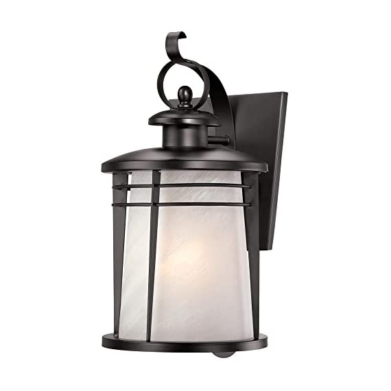 Westinghouse Lighting 6674200 Senecaville One-Light Exterior Wall Lantern, Weathered Bronze Finish on Steel with White Alabaster Glass - One-light exterior wall lantern Weathered bronze finish on steel; white alabaster glass 16-1/4 by 8 Inch (H x W); extends 9-1/2 Inch ; 6-1/2 Inch high from center of outlet box; back plate is 7-1/2 by 6-1/2 Inch (H x W) - patio, outdoor-lights, outdoor-decor - 412kiReGOYL. SS570  -