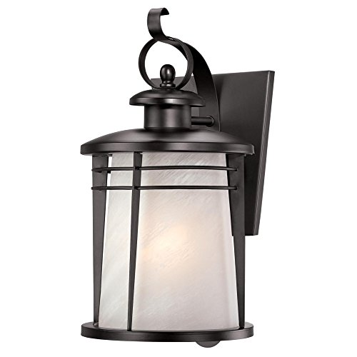 Westinghouse 6674200 Senecaville One-Light Exterior Wall Lantern, Weathered Bronze Finish on Steel with White Alabaster Glass