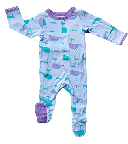 Kozi & Co. Baby Sleeper Footie Pajamas Infant Girls Orchid Whale 0-3 Months - Kicky Pants Girl